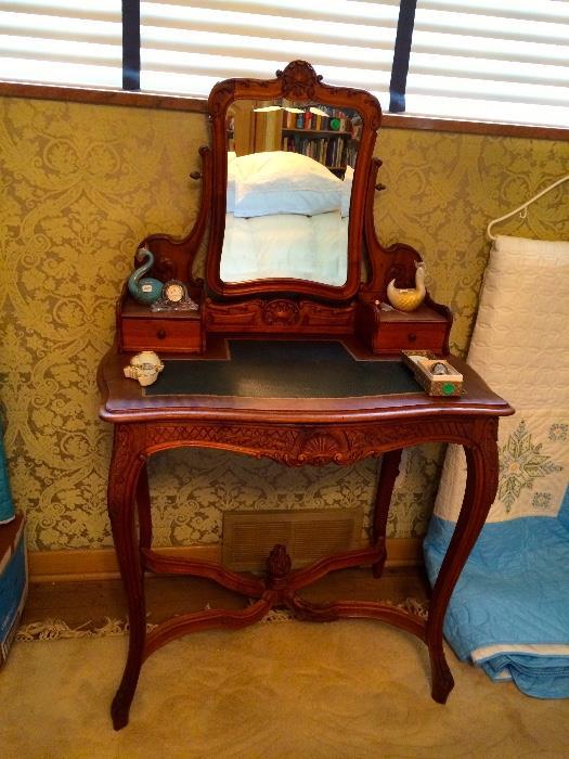 Antique Vanity with Leather Top & Tilt Mirror