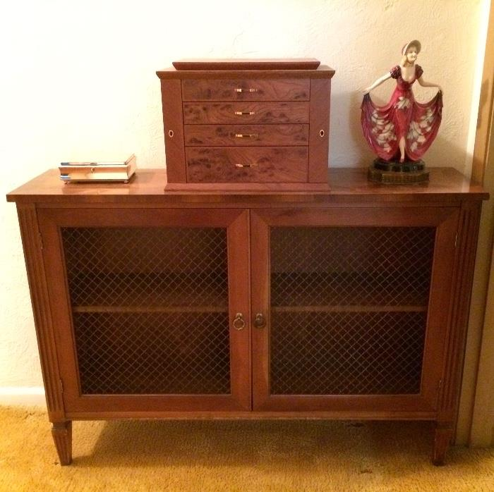 Pecan Finished Mesh Wire Front Short Bookcase, Birds Eye Jewelry Case and More