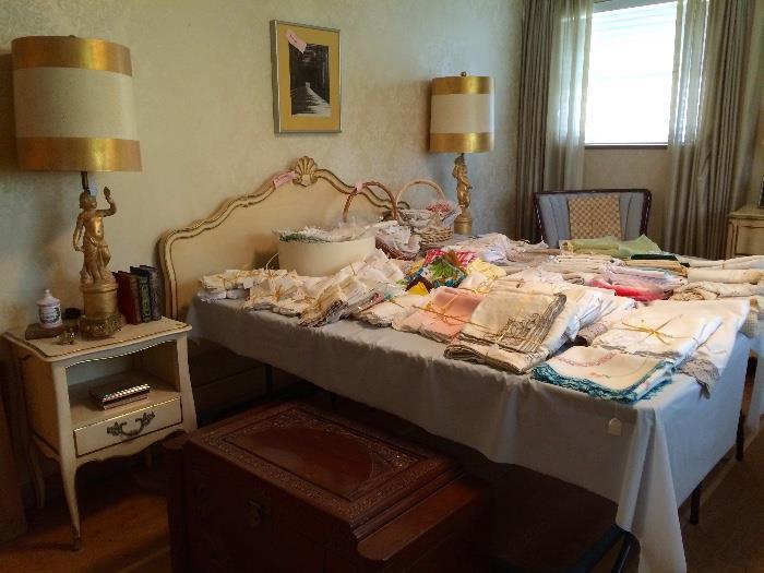 White & Gold French Provincial Five Piece Bedroom Set, Vintage Linens