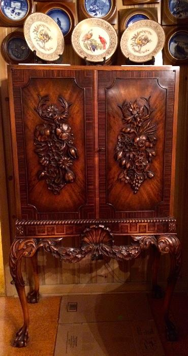 1920s Walnut Closed China Cabinet with Carved Floral Motif & Burl Front Panels