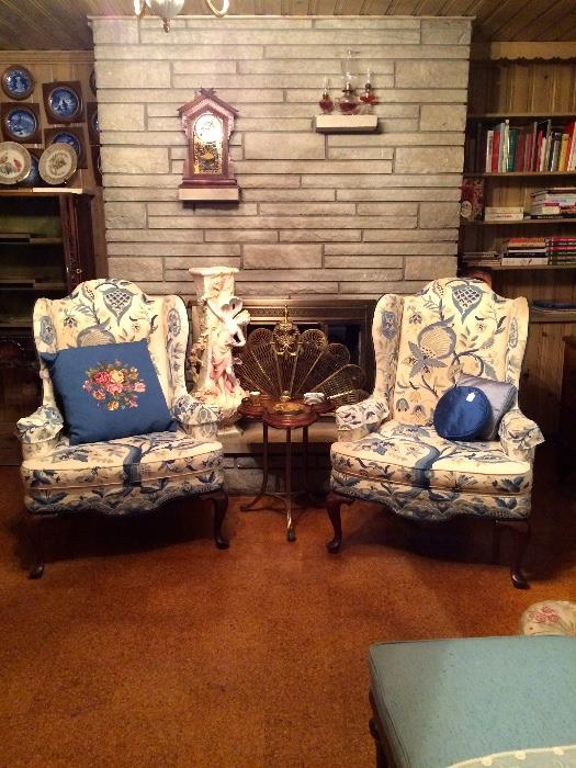 Pair of Crewel Blue Arm Chairs, Three Lobe Occasional Table with Brass Gallery, Brass Expandable Fire Screen and More