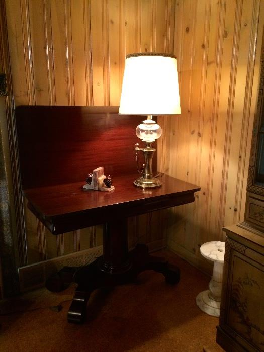1940s Mahogany Flip Top Game Table, Brass and Glass Decorator Lamp