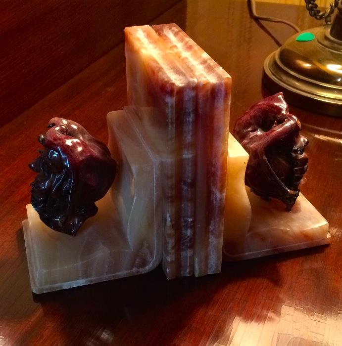Shep Shapiro Carved Apple and Marble Bookends