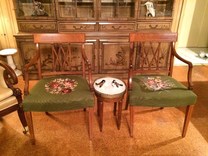 Needlepoint Arm Chairs, small Brass Gallery Marble Cocktail Table