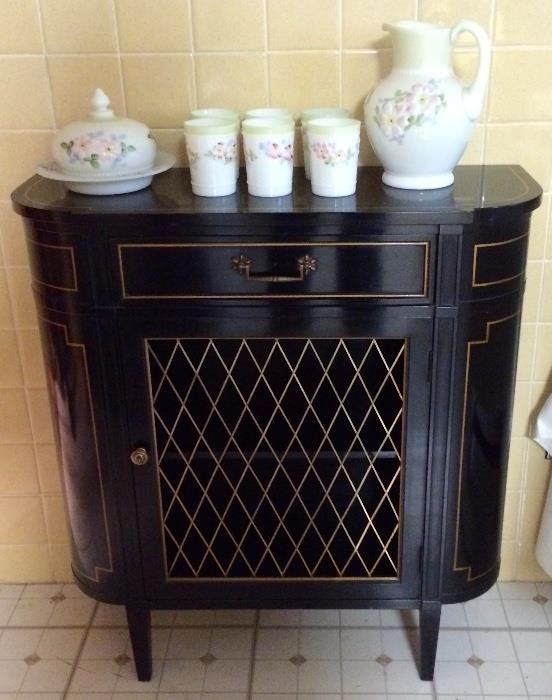 Cosmos Lemonade Collection, Cosmos Butter Dish, Ebonized Mesh Front Cabinet