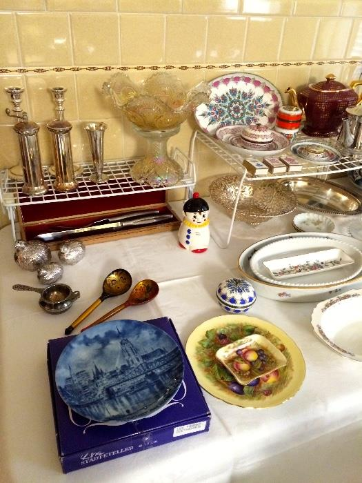 Arta Enamel Dishes and Trinket Boxes, Carnival Glass, Limoges, Silverplate and More