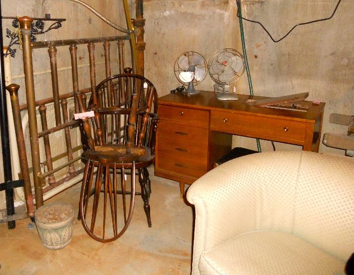 Vintage Fans, Brass Bed and Sewing Cabinet