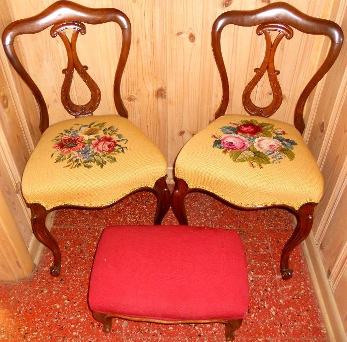 Diminutive Needlepoint Chairs and Ottoman