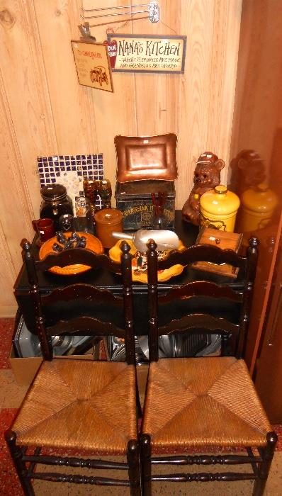 Rush Seat Ladder Back Chairs and Drop Leaf Table, Retro Cookie Jars and Kitchen Accessories