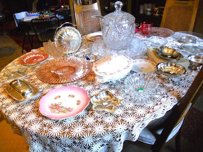 Vintage Southern Crystal Punch Bowl Set and More