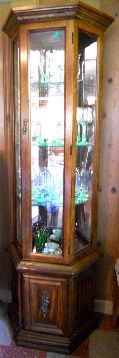 Vintage Curio Cabinet and Glassware