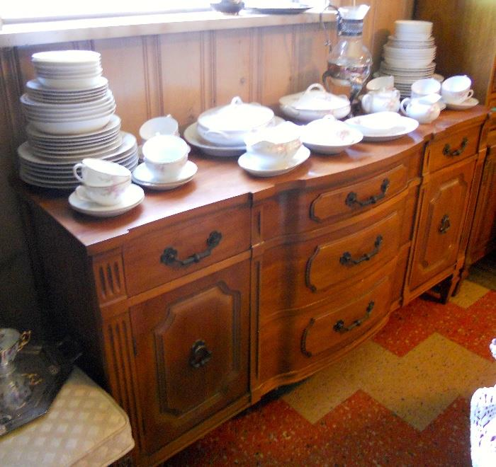 Vintage Buffet and Dish Set