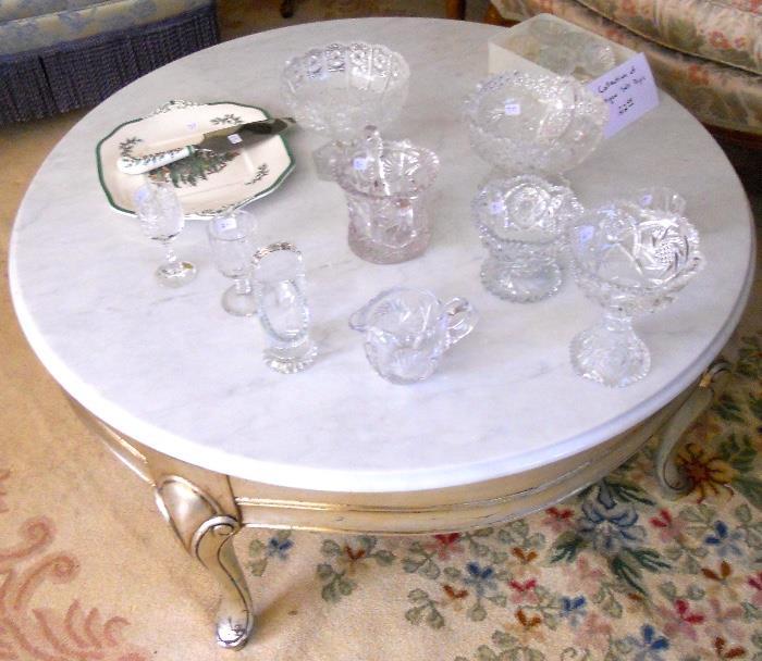 Italian Round White Marble Top Coffee Table