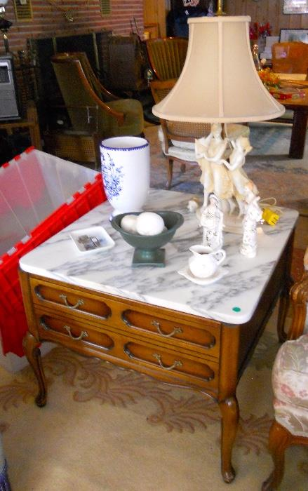 Pair of Marble Top Pecan Finished French Provincial Large End Tables