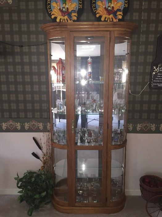 GLASS CURIO CABINET ( SOLID BLONDE WOOD)