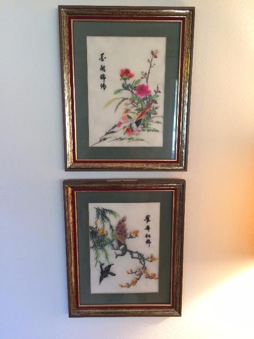 Asian Silk Framed Tapestries
