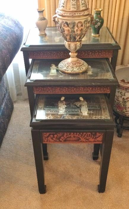 Beautiful Asian nesting Tables  (We have 2 sets of these)