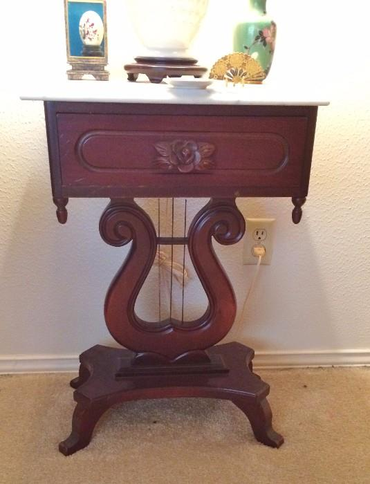 Stunning Mahogany and Marble (harp string) tables- Lyre (We have 2 of these)
