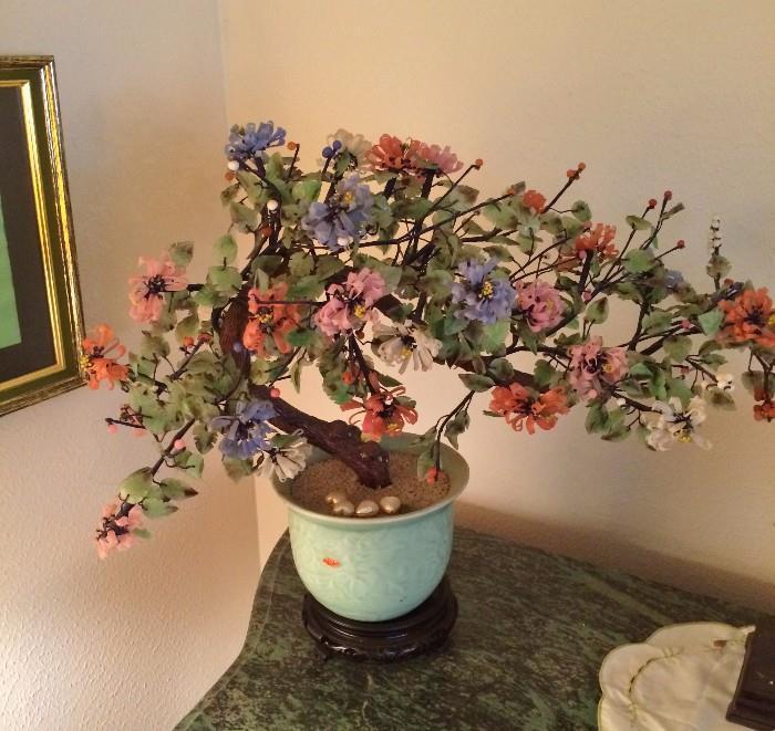 Several Jade, Rose Quartz, etc.... Trees