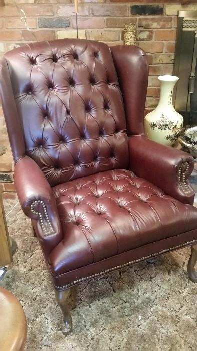 Beautiful Leather Tufted Chair with Nailhead detail