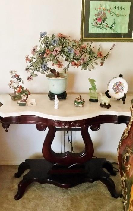 Lyre Mahogany & Marble Sofa/ side Table ~ STUNNING !!!!!