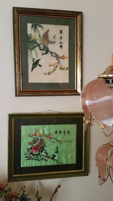 Framed Asian Silk Tapestries