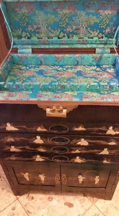 Beautiful Asian Silverware Cabinet with Mother of Pearl and JADE inlay