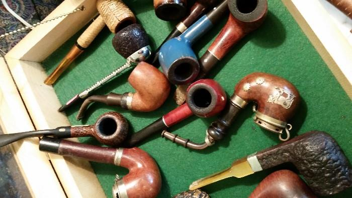 Box full of Vintage / Antique Pipes