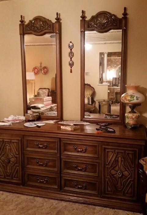 Mid Century Modern Dresser with 2 mirrors