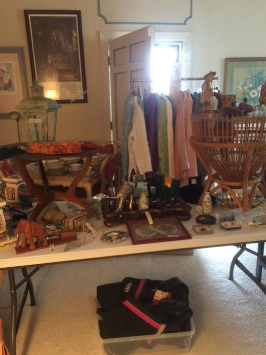 trasures from world travels ...chess sets, mahjong and many more souvenirs...also designer clothing and mink stoles