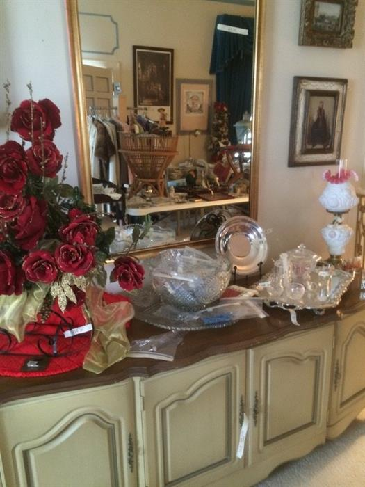 french provincial buffet, punch bowl, silver-plate, Fenton lamp