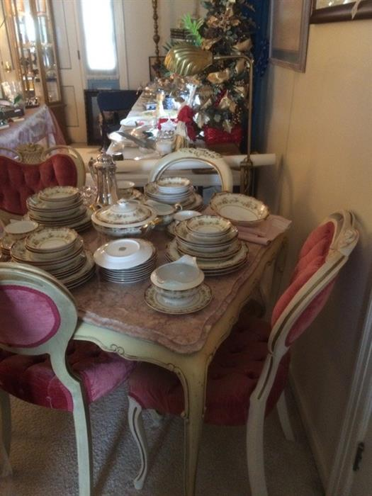 marble top parlor table and chairs