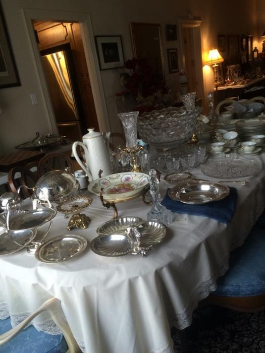 very nice silver, crystal, china and another punch bowl, under plate, cups and ladle