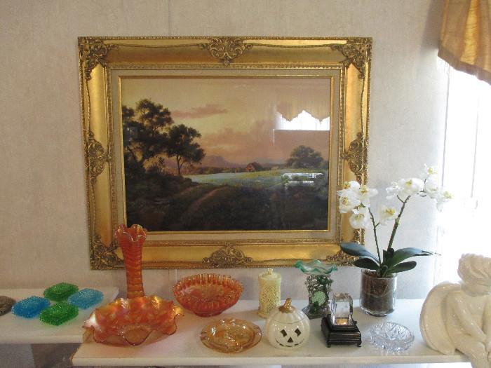 Another Beautiful Windberg.  The Frame is Fabulous.  The Picture does not do it justice! Marigold Carnival Glass.