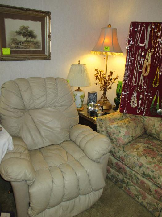 Nice Large Recliner, Windberg Picture Nicely Framed, And Jewelry.  We have a lot of nice jewelry!