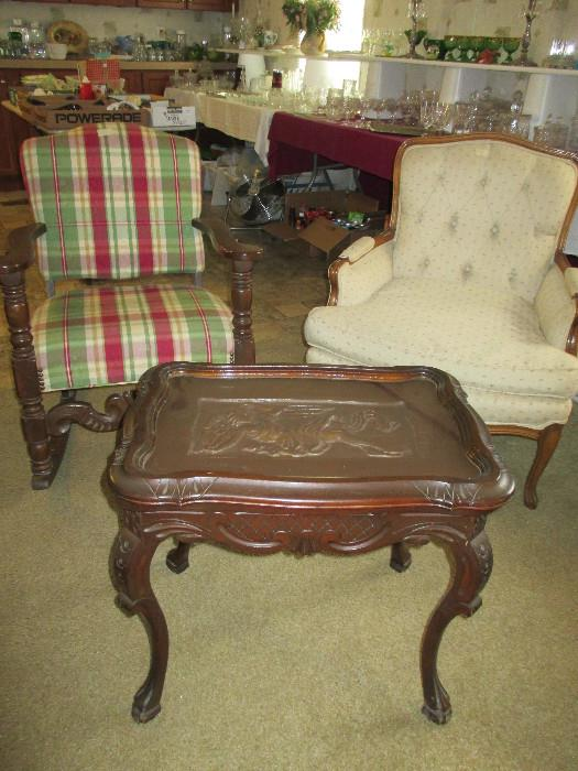 Very Nice Reupholstered Rocking Chair, Vintage French Bergere Style Arm Chair, Carved Wooden Table With Removable Glass Tray Top.