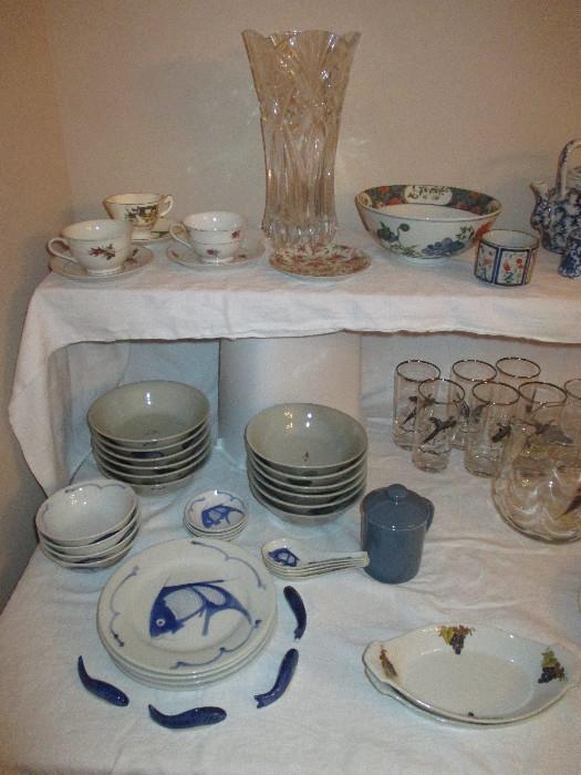 Fun Fish Plates, William Sonoma Bowls, Pheasant Glasses