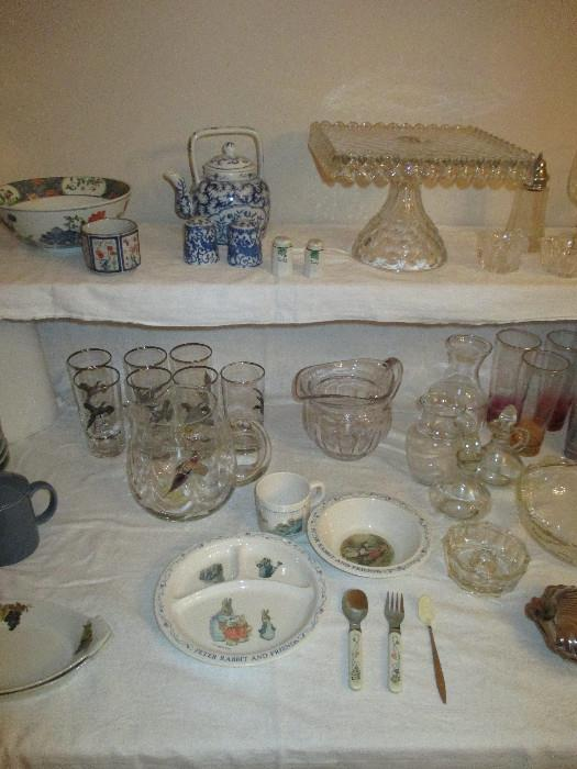 American Fostoria Cake Plate And Other Nice Items