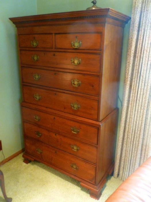 Chippendale period pine chest on chest.