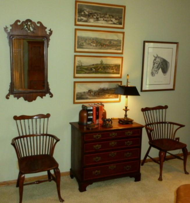 More period antiques and a beautiful pair of comb back Windsor chairs.