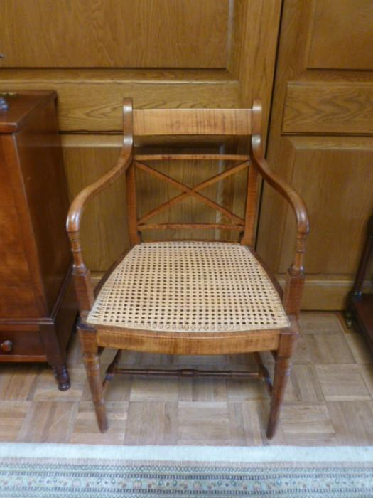 Tiger maple Sheraton period arm chair.