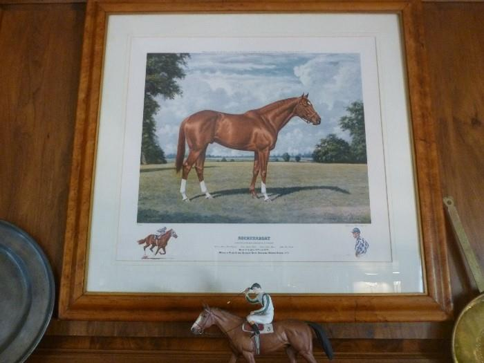 Secretariat print by Richard Stone Reeves, signed by Reeves, the jockey and the owner.