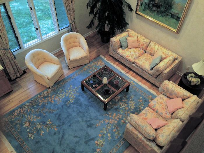 Fabulous Living room  setting, Couch, Love Seat, 2 Swiveling Occasional Chairs, Glass Top Coffee Table and ALL Accessories