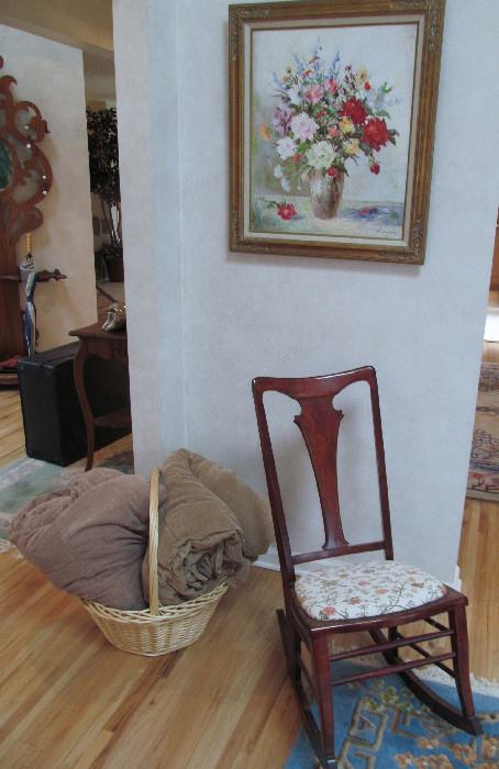 ANTIQUE ROCKING CHAIR, SIGNED OIL PAINTING, COMFORTERS