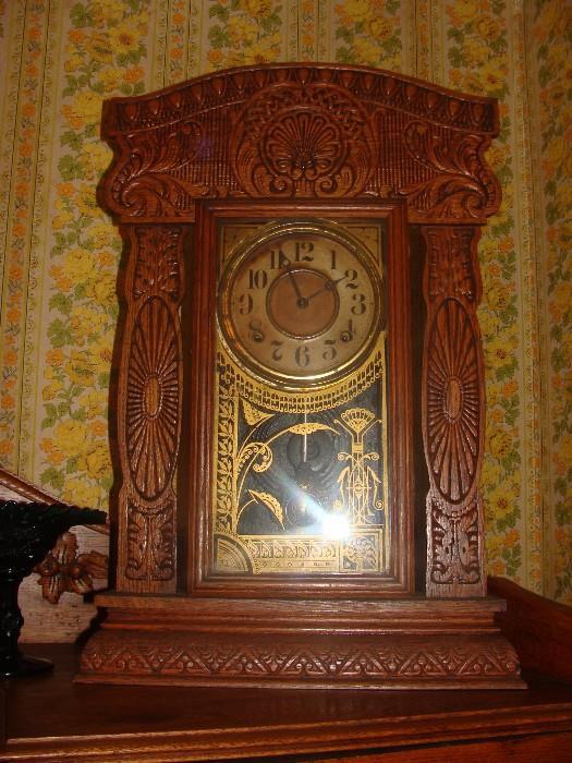 Antique Carved Oak Gingerbread Gold Gilt Glass Panel Kitchen Clock
