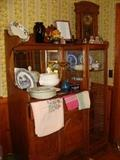 Antique American Oak Side by China/Buffet with beautiful Beveled Mirror and beautifully carved.