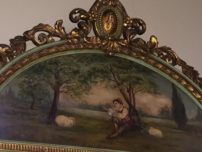 Antique Victorian Hand Painted Mirror