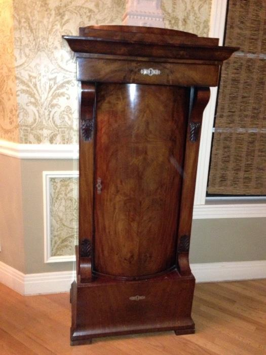 Amazing Antique Curved Front Gun/Storage Cabinet