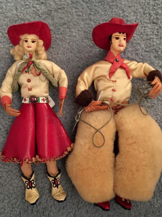 Antique Papier-Mache' Cowgirl & Cowboy Doll.