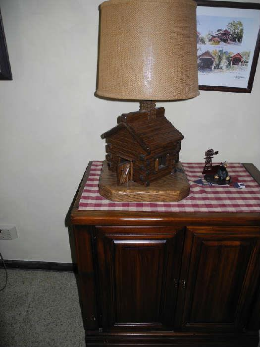 Cute log cabin lamp!
